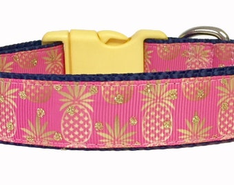 Dog Collar - Pink Pineapple - Summer - Spring - Handmade - Dog Gift- Pet - Dog Collar
