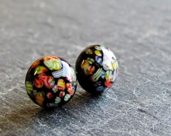 Vintage Glass Post Earrings - Jet Black with Multicolored Millefiori Speckles