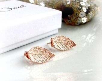 Rose Gold Leaf Stud Earrings - Gift For Her