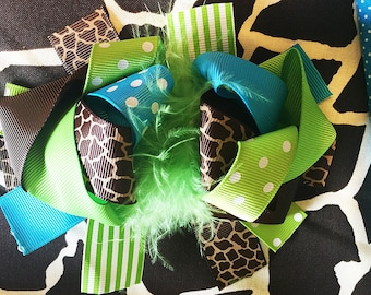 "Giraffe Feather Green Turquoise Blue polka dots Big Hair Bow Grossgrain Loopy Boutique Handmade girls 5"" 24M 2T 3 t 4 t 5 6 7 8 10 12"
