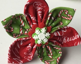 Red and Green Candy Cane Christmas Dog and Cat Flower with Snowflake