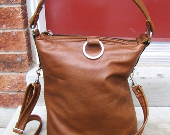 Tan leather fold over bag 3 way purse shoulder tote bag