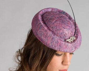 Handmade Purple Lilac Multicoloured Sinamay Wedding Special Occasion Hat/ Headpiece/ Fascinator