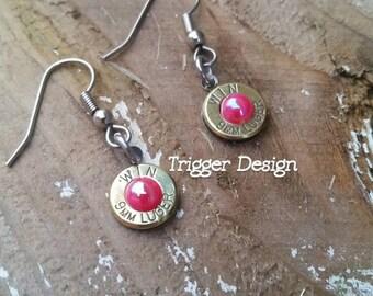 9mm Caliber Dangle Bullet  Casing Earrings- Pink Rose Pearl