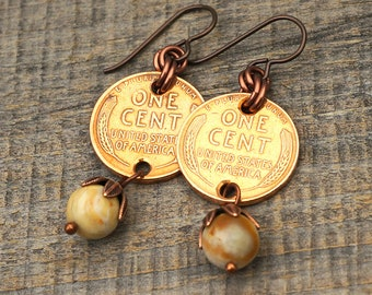 Earthtone coin earrings, fossil coral beads, US wheatie pennies, copper
