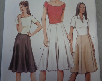 Womens Flared Skirt Front Detail Skirt A Line Skirts OOP Vogue Sewing Pattern V7910 Size 12 14 16 Hip 36 38 40 UnCut Sewing Patterns