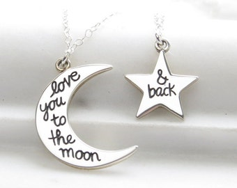 Moon and Star Necklace Set • Love You To The Moon And Back • Gift For Friend • Gift For Daughter • Moon and Star Pendants • Family Gift