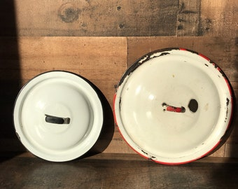 Vintage Enamelware Lids * Pot Lids * Saucepan Lids * Graniteware Lids * Red and White * Black and White