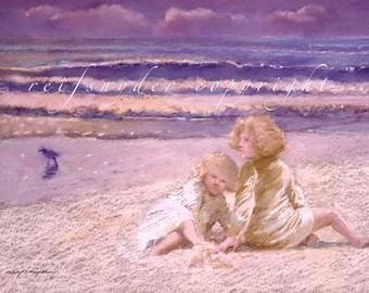 Beach greeting card 5x7 blonde girls, two children, sisters, ocean, seashore art, blue, purple, pink, seaside, figures, people, sand, shore