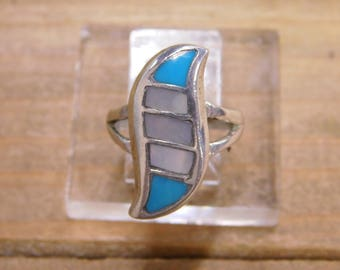 Sterling Silver Turquoise Mother Of Pearl Squiggle Ring Size 6.5