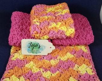 Kitchen dishcloths, crochet wash cloths, cotton dish cloths, housewarming gift, gift for mom,  handmade,