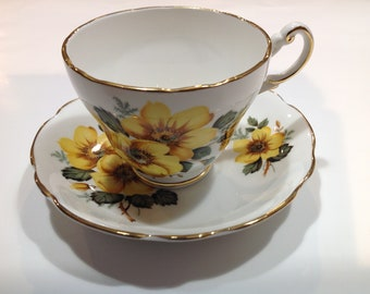 Grosvenor Bone China Tea Cup and Saucer, Jackson & Gosling Yellow Floral Pattern