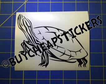 Turtle Decal - Painted, Red Eared Slider 4X6