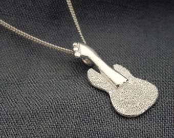 Silver Guitar Necklace