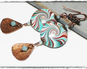 Caribbean Sunset... Handmade Beaded Jewelry Earrings Polymer Clay Turquoise Teal Terra Cotta Antique Copper Swirl Spiral Crystal Lightweight