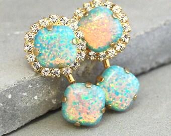 Ear Jacket earrings,Opal Stud earrings,Gold Ear Jackets,Swarovski Stud Earrings,Mint Opal Earrings,Back front Earrings,Mint jacket Earrings