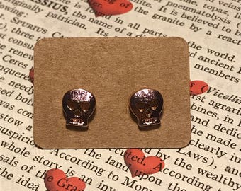 Skull Stud Earrings Rose Gold Plated