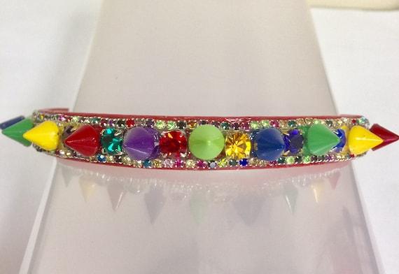 Cutie Pie Pet Collars TM ~ Christmas Tree Jewels & SPIKES~  Crystal Diamante Rhinestone Spiked Pet Dog Cat Collar USA