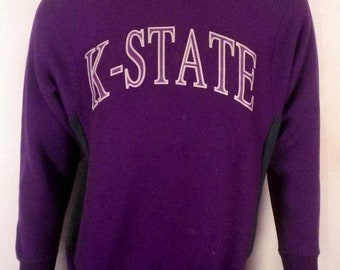 vtg 80s K-State KSU Kansas State Wildcats Sweatshirt reverse weave NCAA sz S