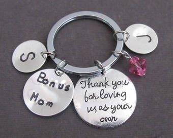 Je vous remercie pour nous aimer comme votre propre, Bonus maman porte-clés, porte-clés de Bonus de papa, belle-mère, l'étape papa, Foster Parent, gardien cadeau, Free Shipping USA