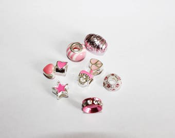 Set of 9 assorted beads - pink