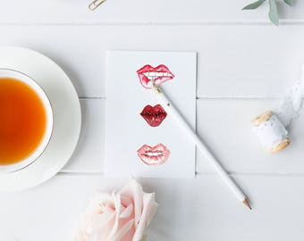 Watercolor Kisses/Lips Valentines Day Card 4 x 5.5