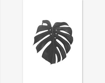 Leaf Print, Tropical Print, Botanical Print, Black and White Wall Art, Scandinavain Print, Nature Print, Monstera Print, Modern Minimalist