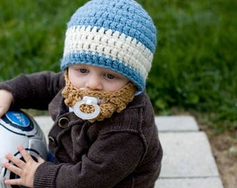 Infant ULTIMATE Country Blue 1-Stripe Bearded Beanie