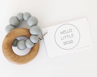CHUNKY Teether - Silicone and Beech Teething Toy - Silicone Teething Ring - Teether Toy - Wooden Teether - Silicone Teether