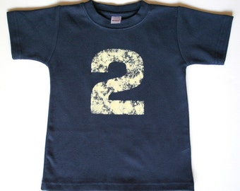 Toddler Birthday shirt - Distressed Number TShirt - 1, 2, 3, 4, 5 -- personalized - NO INK - Click for colors, Free Shipping