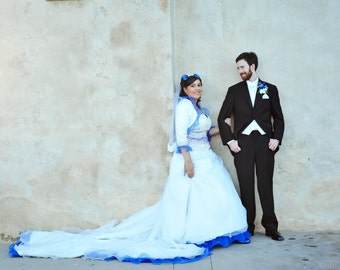 White and Blue Wedding Dress Ball Gown, Custom Made in your size - Kelly Dress