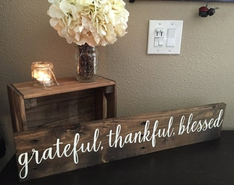 "Pallet Wood Sign Grateful Thankful Blessed Sign - 5.5""x30""- Home Family Love Rustic Decor Farmhouse Style Fixer Upper Aubrey (Item - GTB100)"