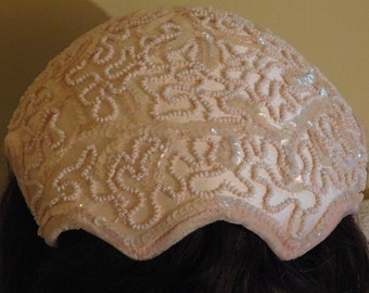 Vintage Hat Cream Cap with Seed Pearls and Sequins Wedding Cap