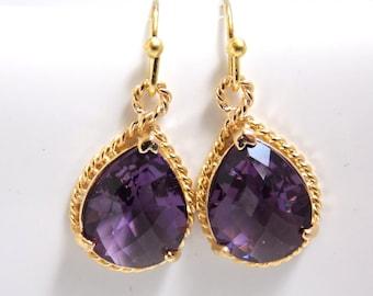 Purple Earrings, Glass Earrings, Amethyst, Tanzanite, Gold Earrings, Bridesmaid Earrings, Bridal Earrings, Bridesmaid Gifts