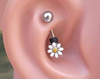 White Daisy Silver Rook Earring Daith Piercing Eyebrow Ring
