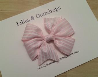 Pink Pinstripe Hair Bow Clip