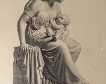 Victorian Steel Engraving JOCHEBED Mother of Moses Engraved by W Roffe from Group of Sculptures by Franklin Simmons