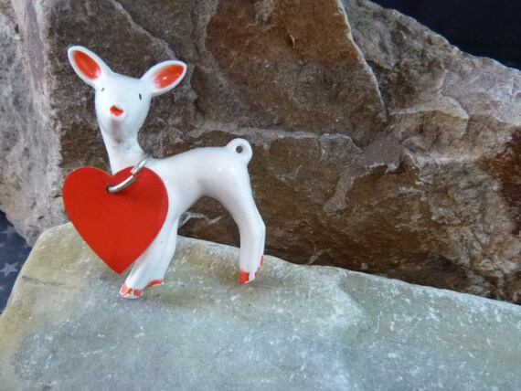1950s What a Dear You Are Valentine's Day Thermoset Plastic Deer with Red Heart Vintage Pin Book Piece