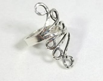 Signed Taxco Vintage Sterling Silver 925 Swirl Wrap Ring