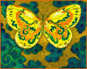 Papillon D' Esprit Archival Hand Made 5 x 7 Blank Card, Reproduction of original etching with watercolor.