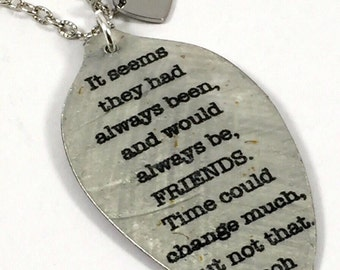 Winnie the Pooh Quote Pendant Necklace made from a Vintage Silver Plate Teaspoon, Silverware Jewelry, Unique Art Pendant