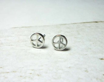 Peace Sign Stud Earrings, Dainty Earrings - Silver
