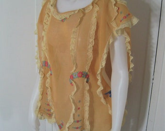 20s Vintage Lingerie Blouse Bed Jacket, Peach Hand Embroidered Cotton & Lace, Ribbon Ties, Antique Lounging Top Handmade Hand Sewn, One Size
