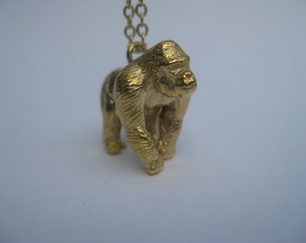 Gorilla Pendant, Gorilla Necklace, Gorilla Charm, Gorilla Jewelry, Ape Necklace, Animal Pendant, Animal Necklace, Animal Lover Gift
