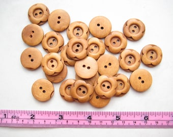 15 pcs of 20mm brown Coffee Flower floral pattern 2 Holes Round Wood Sewing knitting crochet scrapbook Button for craft diy creative project