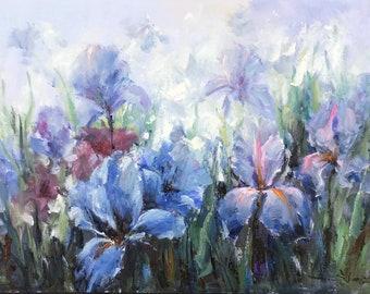 """Yuanjian Wang 249 35x47"""" Irises  flower"""