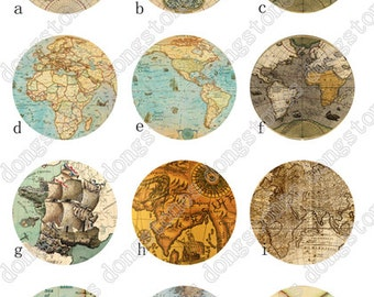 Antique World Map Charm Round Clear Glass Cabochons - Handmade Glass Photo Cabochon ---10mm 12mm 14mm 16mm 18mm 20mm 25mm 30mm---