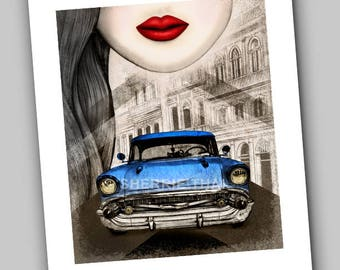 Havana Cuban Dreams, Classic Retro Car, Travel, Original Art Print and Design Created in the U.S. by Sherrie Thai, Sale