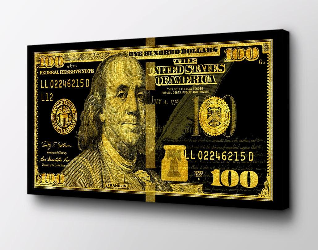 Gold Big Benjamin 100 Dollar Bill Ready to Hang Wall