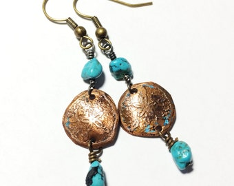 Sand Dollar Earrings, Etched Copper Earrings with Turquoise - Free Domestic Shipping